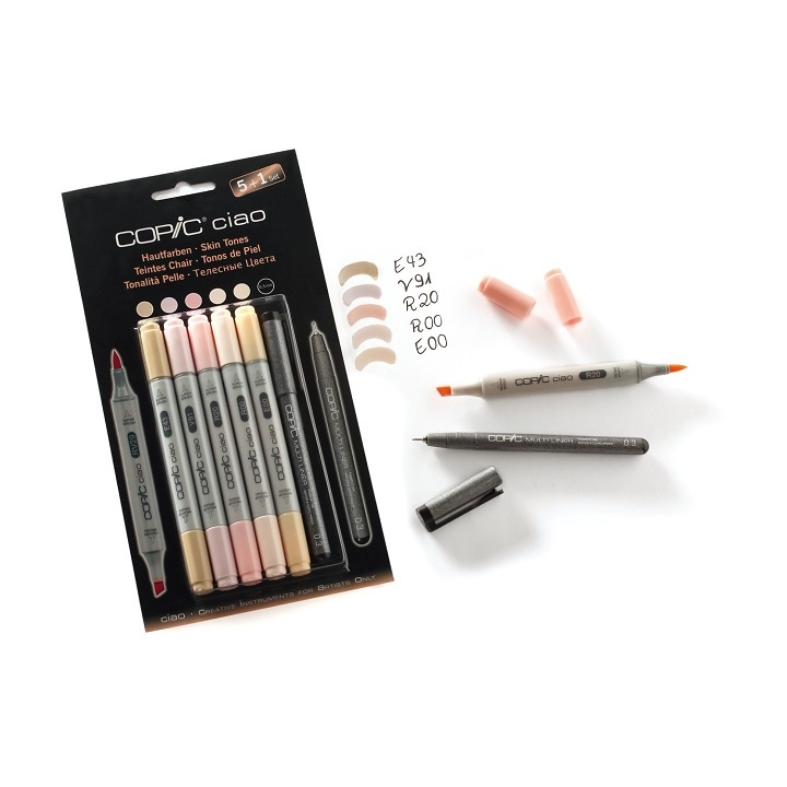 Markeri COPIC Ciao Skin Tones - set 5+1